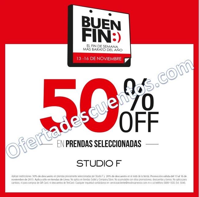 Promoción del Buen Fin 2015 en Studio F: 50% de descuento en prendas seleccionadas