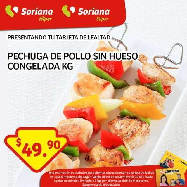 Soriana: Promoción Tarjeta de Lealtad 8 de Noviembre Pechuga de pollo sin hueso
