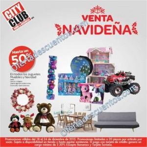 City Club: Venta Navideña del 18 al 24 de Diciembre, Hasta 50% de descuento en juguetes, muebles y más