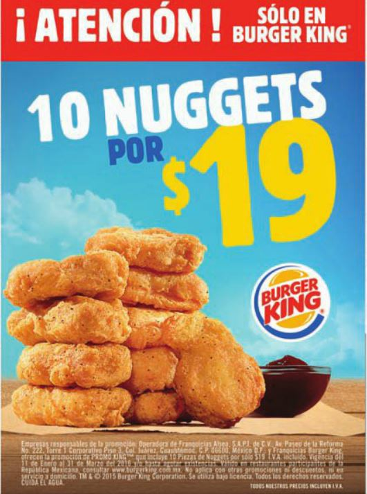 Burger King: 10 Nuggets por $19