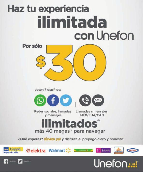 Unefon: Flex Mensajes, Llamadas y Redes Ilimitadas Desde $30 pesos