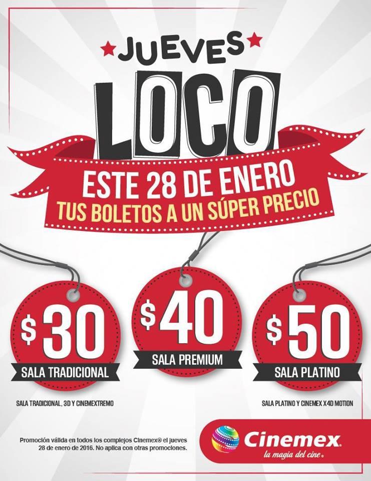 Cinemex jueves loco boletos a un super precio oferta for Precio logo
