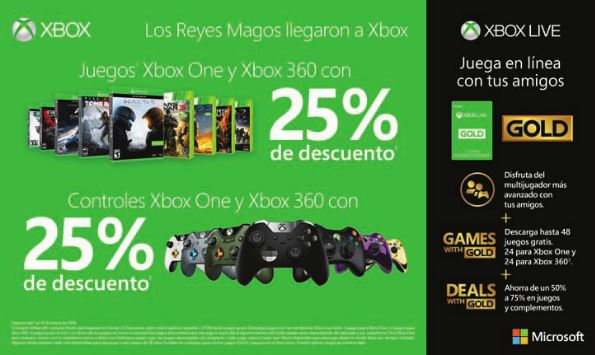 Microsoft: 25% de Descuento en Videojuegos Xbox y en Controles