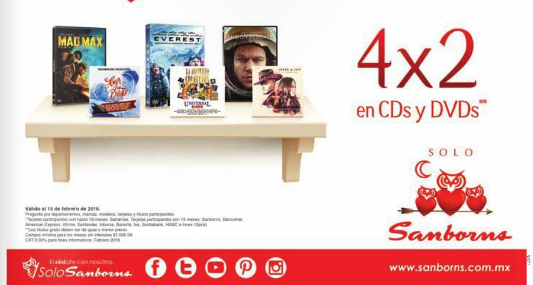 Sanborns: 4×2 o 50% de Descuento en CD's y DVD's