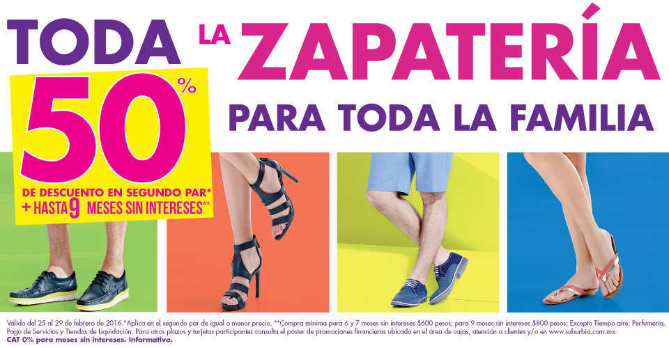 451e0f22510da Suburbia  50% de Descuento en Segunda Compra en Zapatería