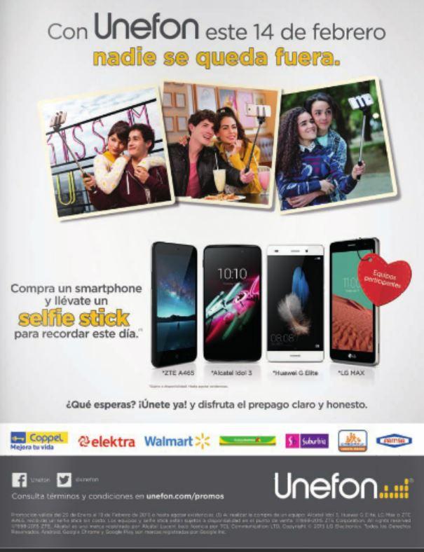 Unefón: Selfie Stick Gratis Comprando un Smartphone