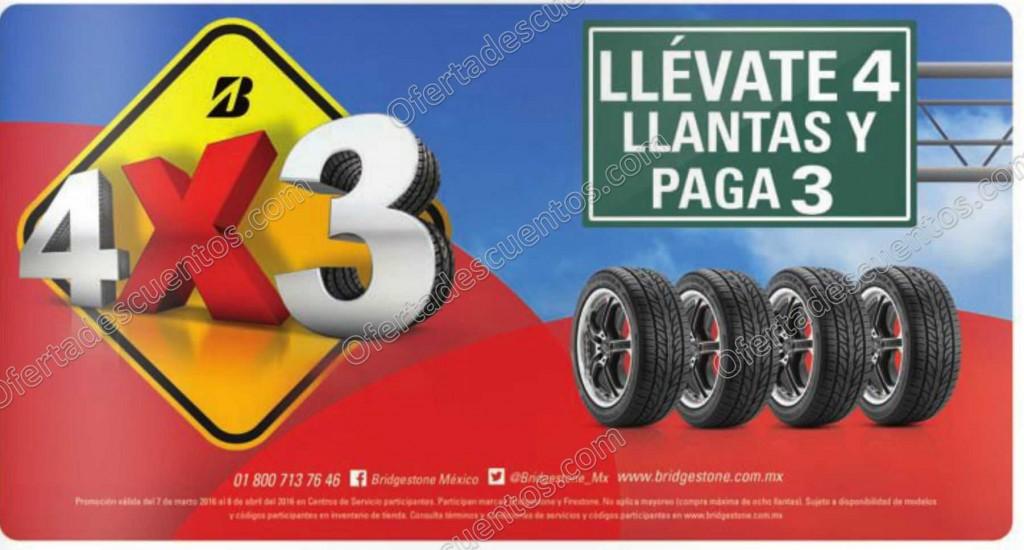 Bridgestone: 4×3 en Llantas Seleccionadas