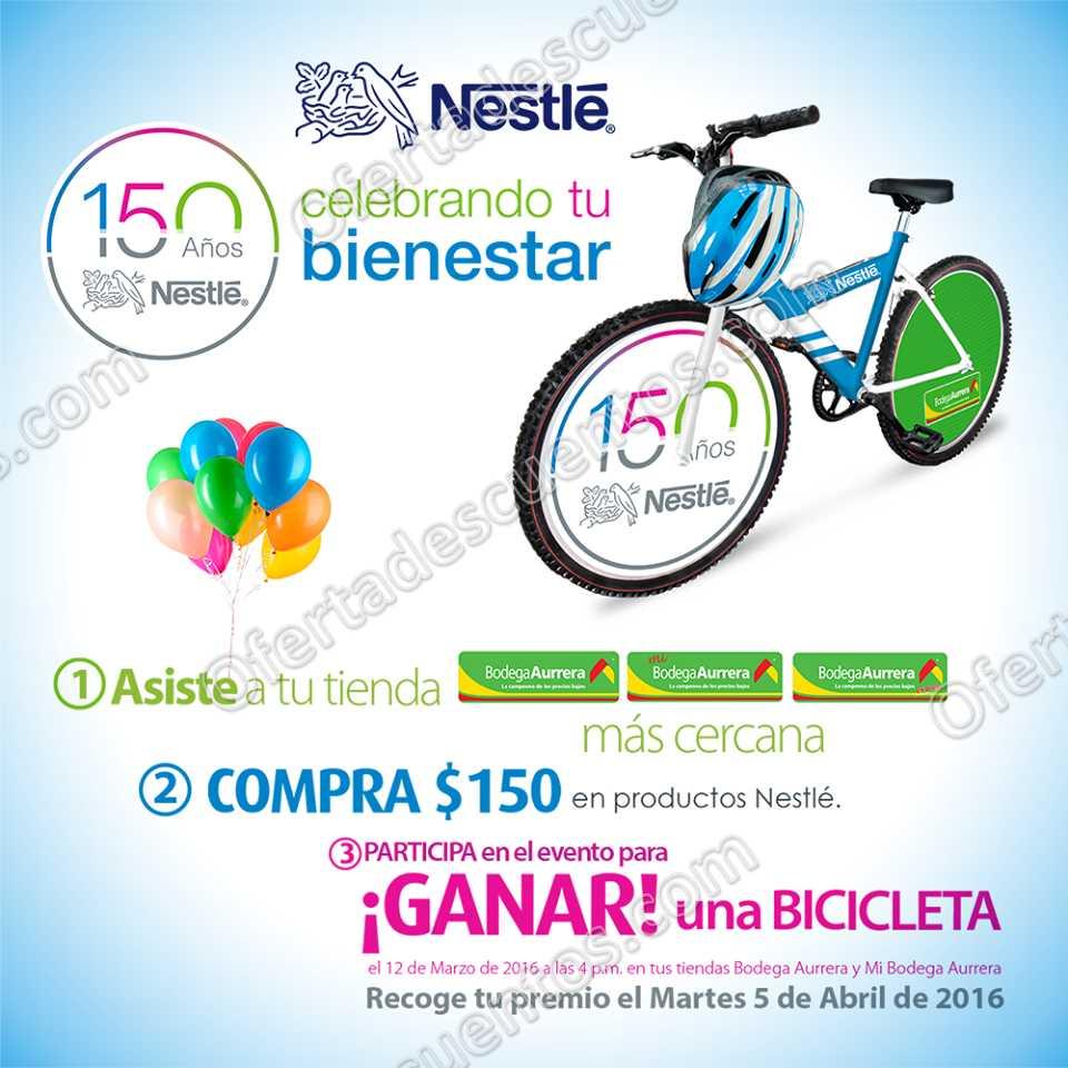 Bodega Aurrerá: Celebra los 150 años de Nestlé y gana bicicleta 12 de Marzo