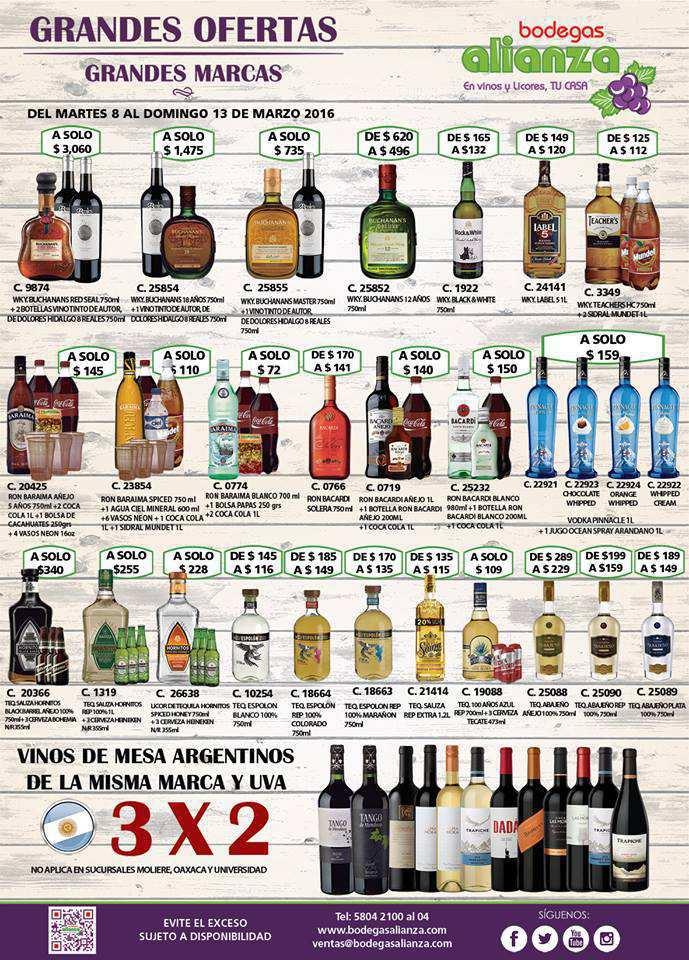 Bodegas Alianza: Ofertas en Vinos y Licores del 8 al 13 de marzo