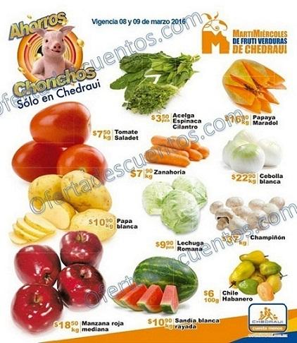 Chedraui: Martes y Miércoles de Frutas y Verduras 8 y 9 de Marzo