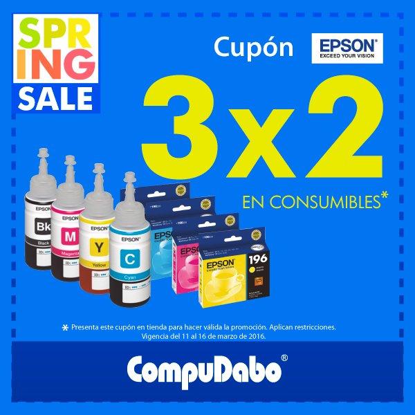 CompuDabo: 3×2 en Consumibles Epson del 11 al 16 de Marzo