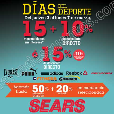 Sears: Hasta 15 meses sin intereses más 10% de descuento en Deportes