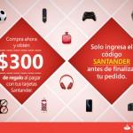 Santander y amazon 300 de descuento en compra m[inima