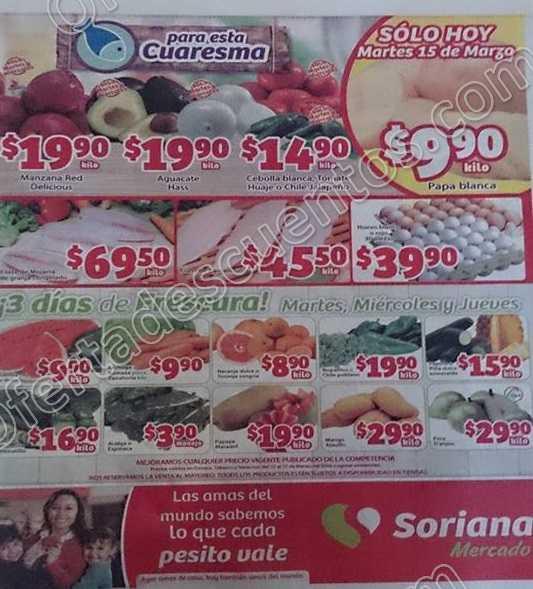 Soriana Mercado: Ofertas en Frutas y Verduras del 15 al 17 de Marzo