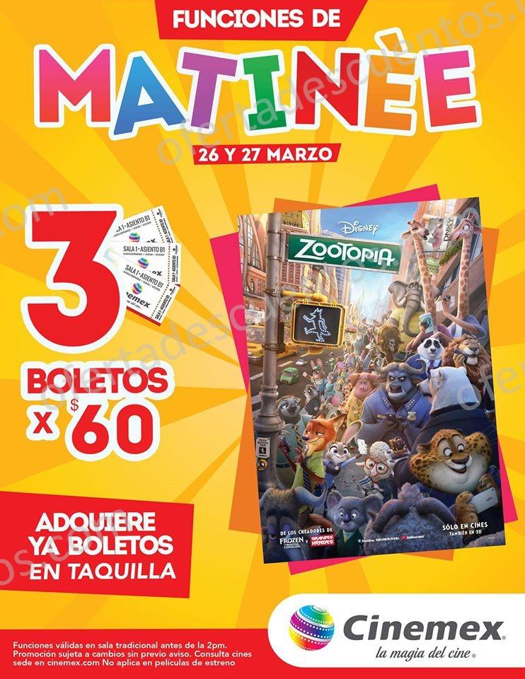 Cinemex: 3 Boletos por $60 Funciones Matinée de Zootopia
