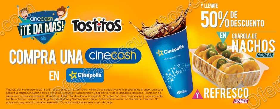 Cinépolis: 50% de Descuento en Nachos Regular y Refresco Grande con Cinecash