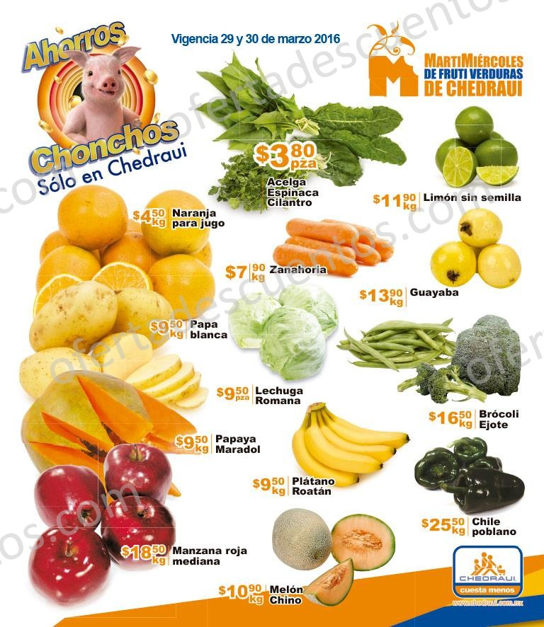 Chedraui: Martes y Miércoles de Frutas y Verduras 29 y 30 de Marzo