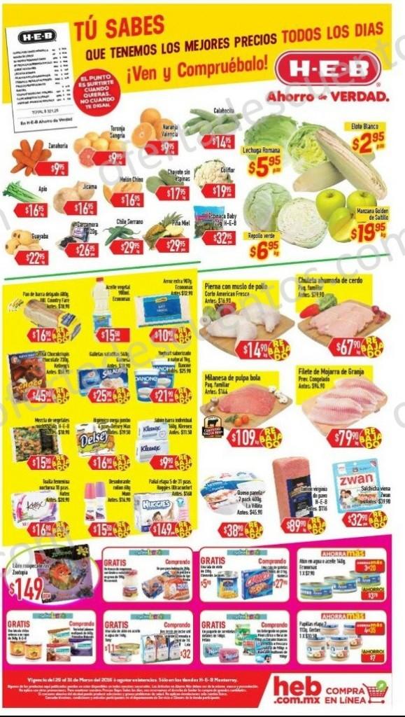 HEB: Tres Días de Frutas y Verduras del 29 al 31 de Marzo