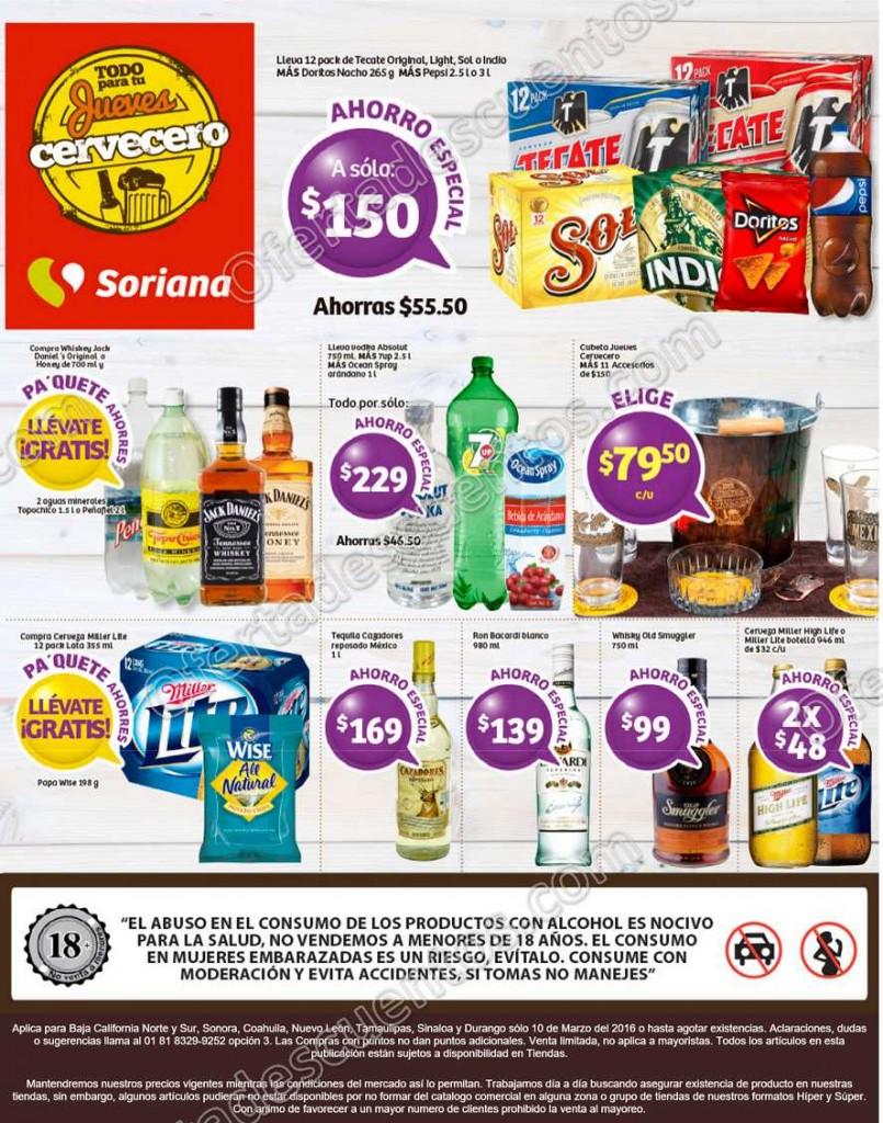 Soriana: Jueves Cervecero 10 de Marzo
