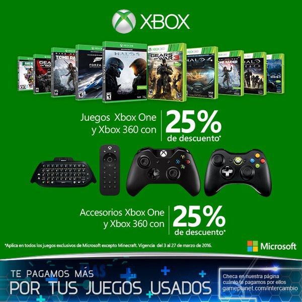 Varias Tiendas: 25% de descuento en Videojuegos y Accesorios para Xbox One y 360