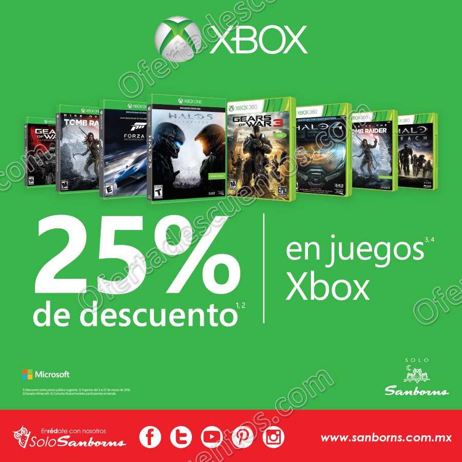 Sanborns: 25% de descuento en Videojuegos para Xbox del 3 al 27 de Marzo
