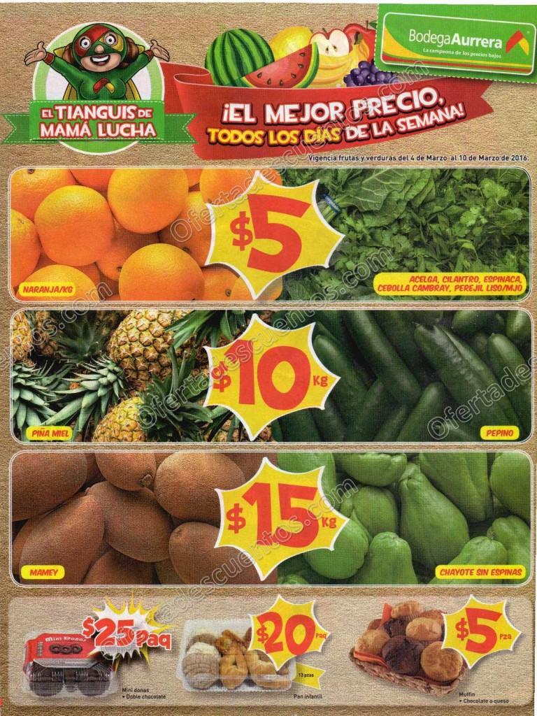 Bodega Aurrerá: Ofertas de Frutas y Verduras Tianguis de Mamá Lucha del 4 al 11 de Marzo