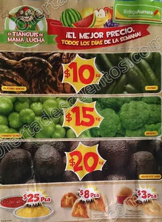 Bodega Aurrerá: Ofertas Frutas y Verduras del Tiánguis de Mamá Lucha del 11 al 17 de Marzo