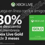 xbox live 30 de descuento en membresia gold de 3 meses OFFDE