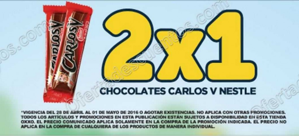 OXXO: 2×1 en Chocolates Carlos V y Yelox del 28 de Abril