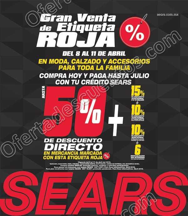 Sears: Gran Venta de Etiqueta Roja del 8 al 11 de Abril