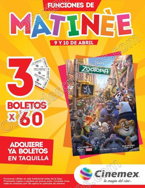 Cinemex: 3 boletos por $60 para Zootopia en Funciones Matinée 9 y 10 de Abril