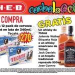 gratis tequila o Whisky en la ocmpra de cerveza tecate en HEB OFFDE