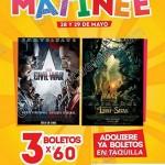 3 boletos por 60 funciones matinee para civil war y el lbro de la selva en cinemexOFFDE