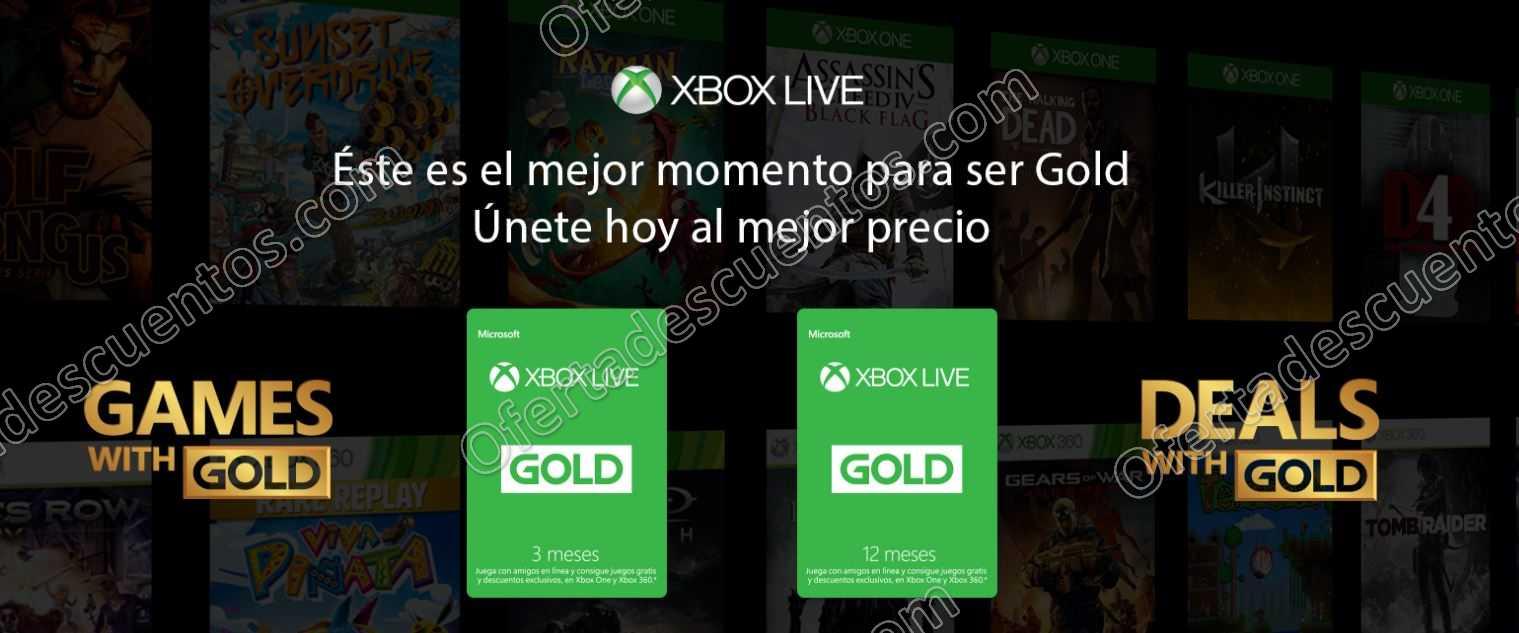 Xbox Live Gold 12 Meses  con 25% de Descuento
