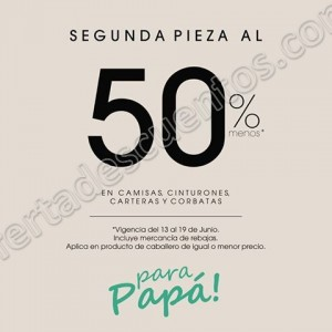 LOB: 50% de descuento en segunda compra en camisas, cinturones, corbatas y carteras