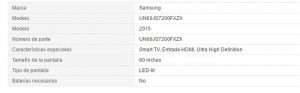 Especificaciones pantalla samsung en amazon