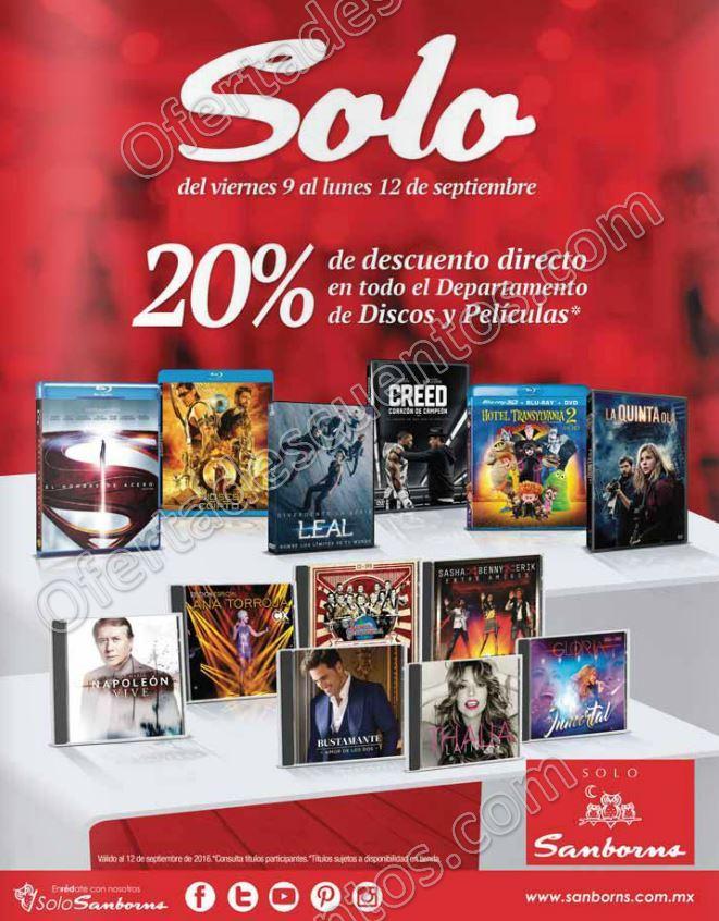 Sanborns: 20% de descuento en en películas y CD's