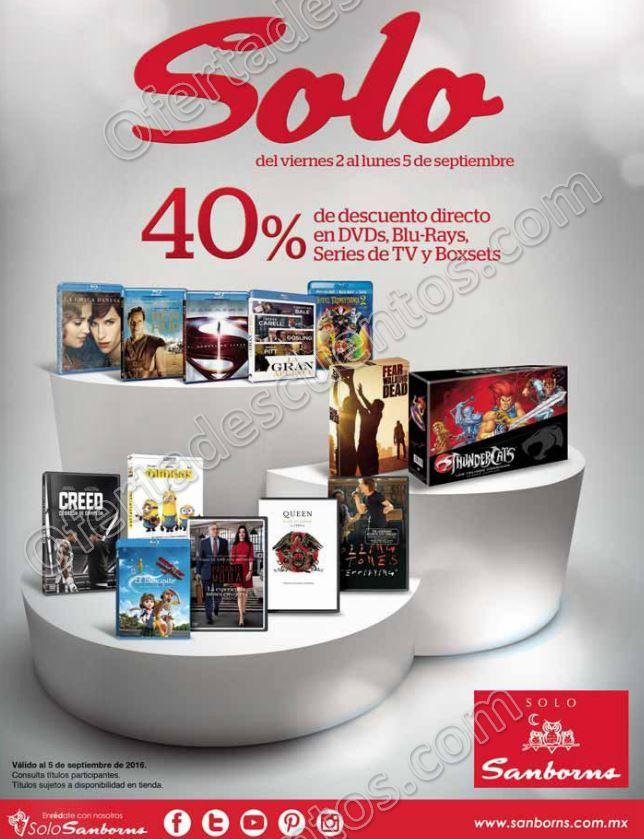 Sanborns: 40% de descuento en Dvd's, Blu-Rays, Series de TV y Boxsets