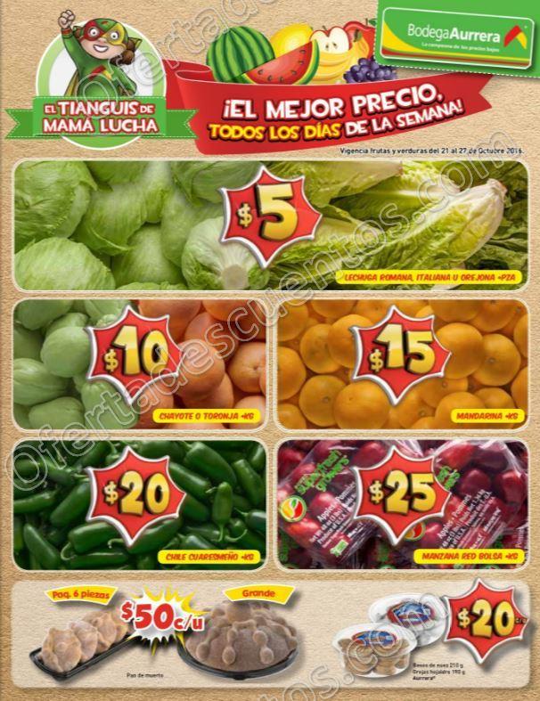 Bodega Aurrerá: Ofertas en Frutas y Verduras en el Tiánguis de Mamá Lucha al 27 de Octubre