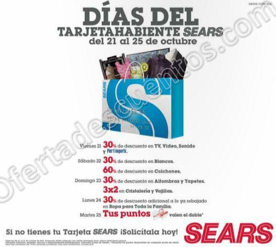 Sears: Días del Tarjetahabiente Sears del 21 al 25 de Octubre