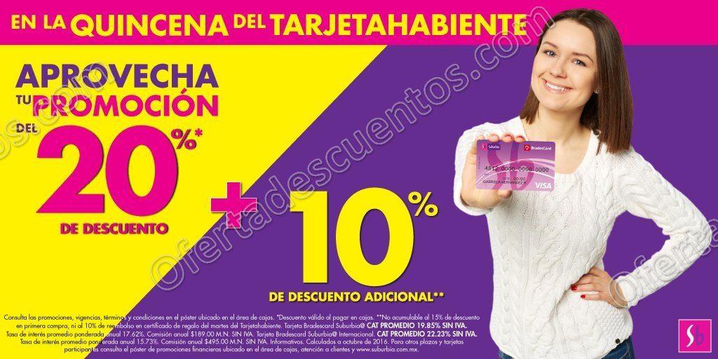 Suburbia: Quincena del Tarjetahabiente 20% de descuento más 10% adicional del 19 al 24 de Octubre
