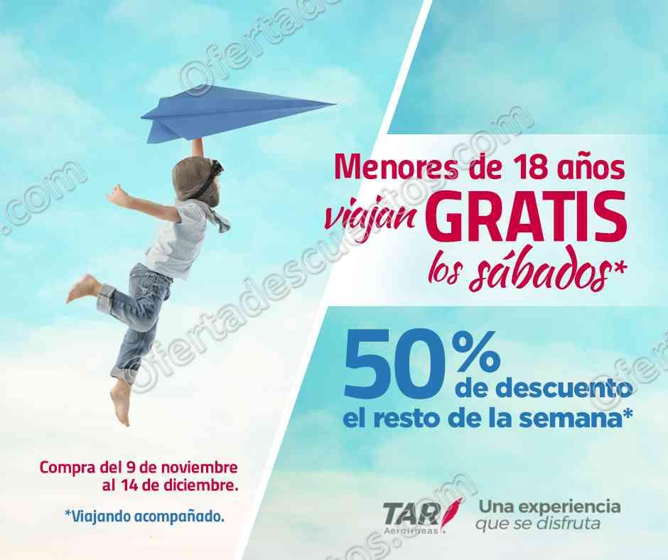 TAR Aerolíneas: Menores de 18 años viajan gratis los Sábados y 50% de descuento de Domingo a Viernes