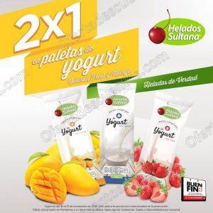 Helados Sultana Promoción Buen Fin 2016: 2×1 en paletas de Yogurt