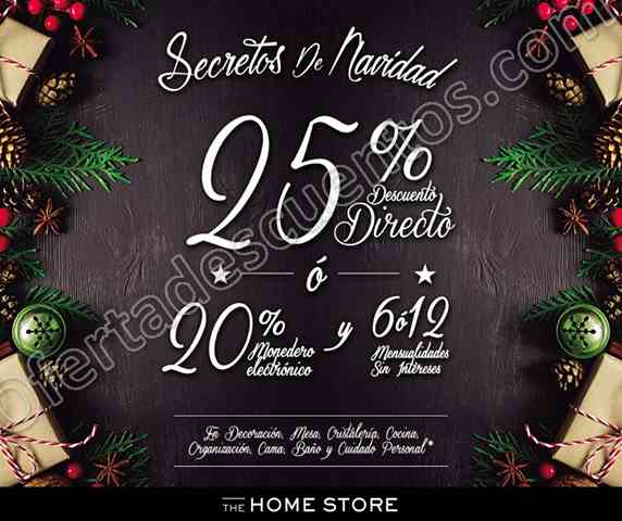 The Home Store: Secretos de Navidad 25% de descuento directo o 20% de bonificación en Decoración y más