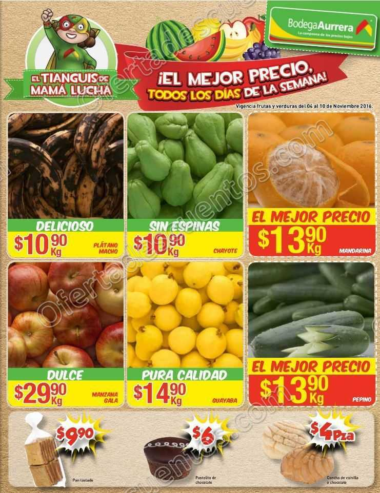 Bodega Aurrerá: Frutas y Verduras Tiánguis de Mamá Lucha del 4 al 10 de Noviembre