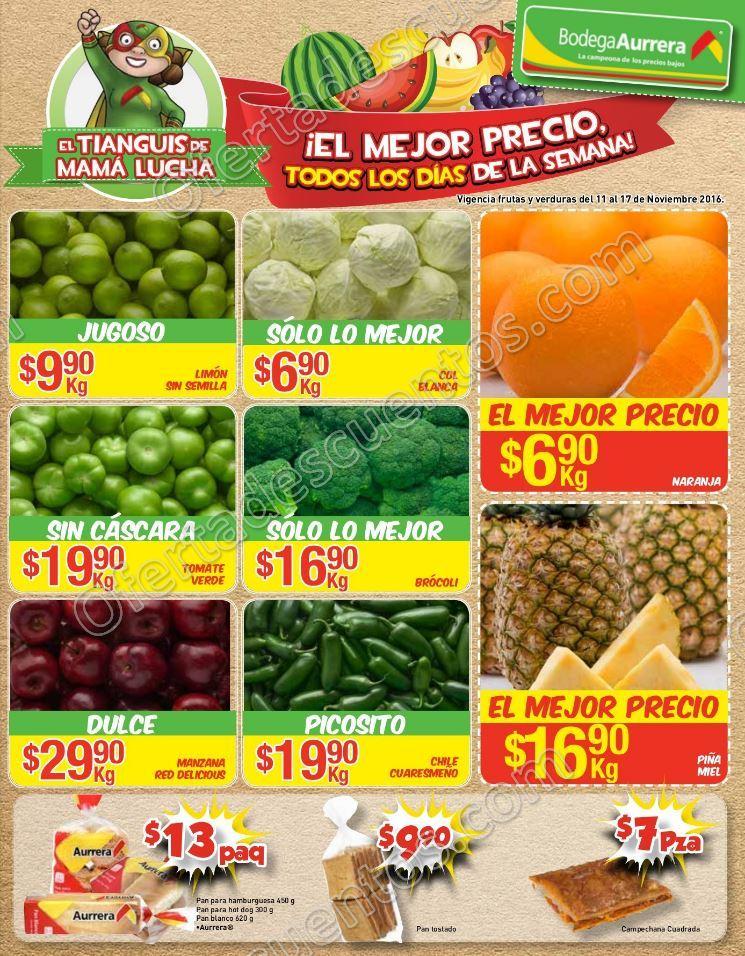 Bodega Aurrerá: Frutas y Verduras del Tiánguis de Mamá Lucha del 11 al 17 de Noviembre
