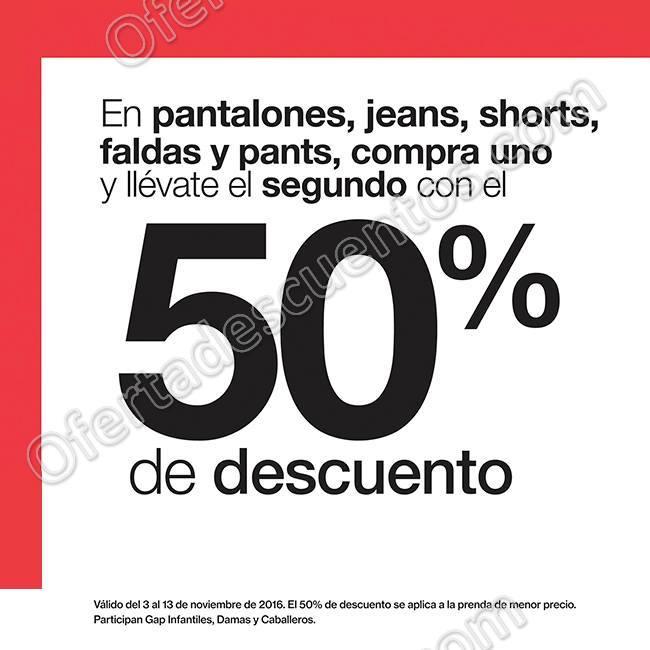 GAP: 50% de descuento en segunda compra en pantalones, jeans, shorts, faldas y pants