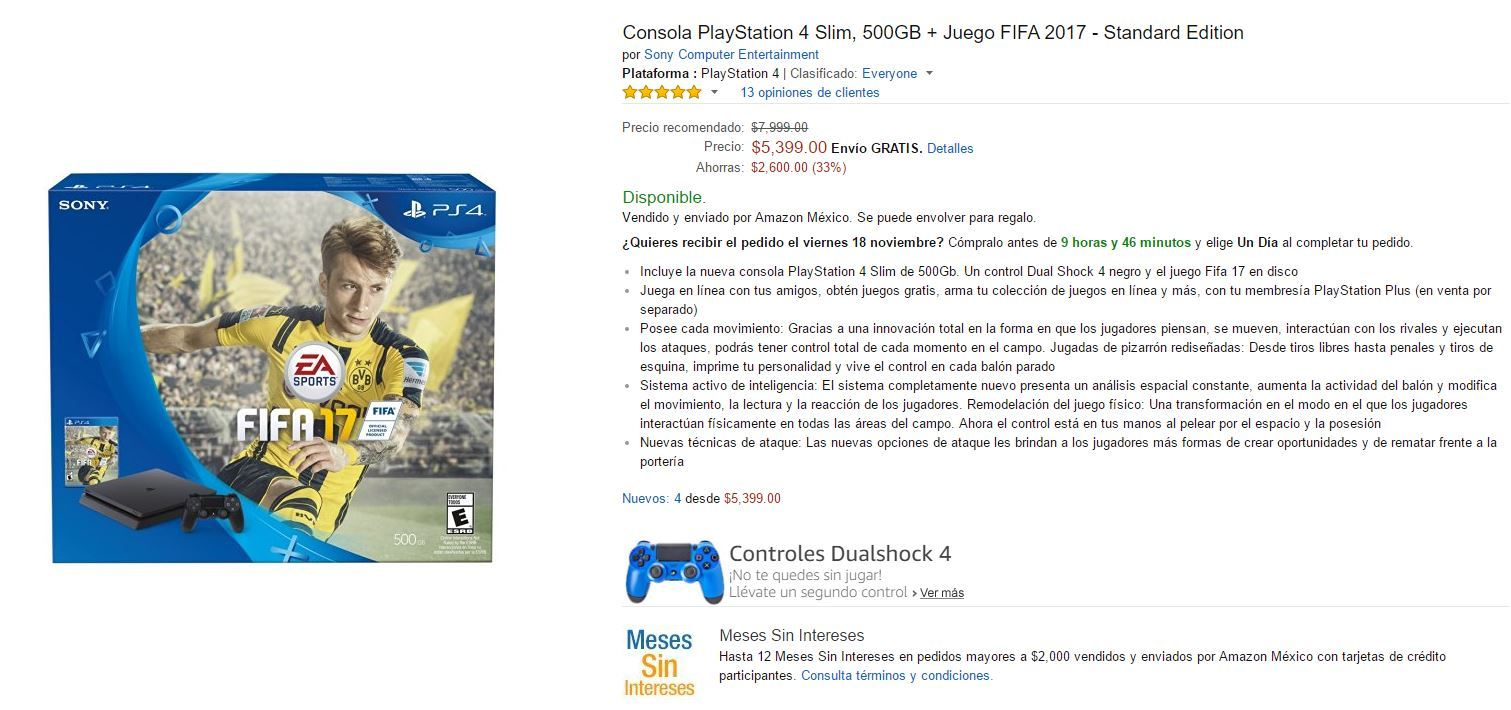 Buen Fin 2016 Amazon: PS4 Slim 500 GB +FIFA a $5,399 o menos