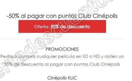 Buen Fin 2016 Cinepolis KLIC 50% de descuento al pagar con puntos