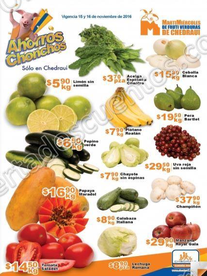 Frutas y Verduras Chedraui del 15 y 16 de Noviembre 2016
